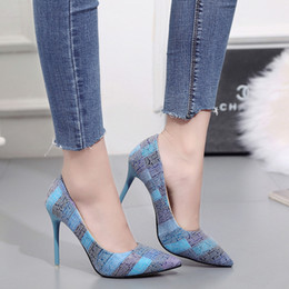 orange glitter shoes Australia - Hot style, spring and summer new, women's shoes, European and American, fine heel, pointed, plaid, large size, high heels