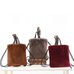 3dc482af5d1 High Street Faux Fur Bags For Girls Women Mini Leopard Plush Backpacks Chic  Leopard Soft Rabbit Fur Backpack Female Streetwear