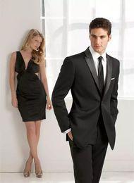 Beige Slim Suits For Men Australia - 2018 Black Men Suits Custom Made Wedding Suits For Man Bridegroom Tailored Tuxedo 2 Pieces Slim Fit Formal Groomsman Prom Best Man Handsome