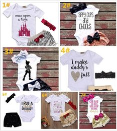 $enCountryForm.capitalKeyWord NZ - ins Baby girl letters rompers suit kids Short sleeve triangle rompers+paillette shorts+bowknot Hair band 3pcs set clothesY196