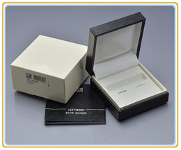 Top Valentines Gifts Canada - Luxury cuff-links boxs Top Grade Black Leathe Box with Warranty Manual for Christmas Birthday Valentine gifts packaging box High quality