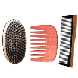 Paddle Picks online shopping - Boar Bristle Brush Comb Set Pocket Wide Fine Tooth Ox Horn Wooden Afro Hair Pick Comb Drop Shipping Christmas Valentine Bussiness Gift