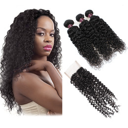 human hair wefts with closure 2021 - Body Wave Straight 3pcs With 4*4 Lace Closure Water Wave Loose Wave Hair Wefts Cheap 8A Brazilian Hair Human Hair Bundle