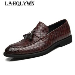 Discount formal shoes patterns - Tassel Braided Pattern Genuine Leather Shoes Slip-on Casual Loafers Men's Business Shoes Formal Dress Dropshipping