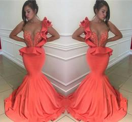 2c0517412f5a Un vestito da sera di corallo della spalla online-Elegante Coral Sheer One spalla  abiti