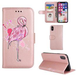 Phone Case For Samsung S5 Australia - Flashing Pink Flamingos embossed leather Wallet Case Card slot Leather Phone Cover Pattern Cases For iPhone X 8 7 6 5 plus Samsung S5 6 7 8