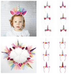 Girls head flowers online shopping - 17styles Unicorn mesh flower Hairband Baby Girl Hair Headbands Hair Hoop Xmas Horn Ear head Hair Accessories Kids birthday Party Gift FFA926