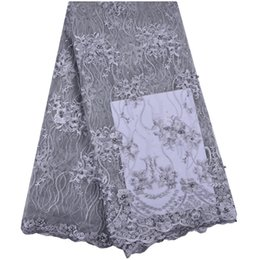 nigeria dresses UK - Quality African Lace Fabric With Nigeria Dresses Fabrics beautiful French Royal gray tulle lace with party A1309