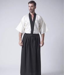 samurai japanese 2019 - Vintage Black Japanese Men Warrior Kimono Traditional Yukata Haori Samurai Clothing Stage Performance Costume One Size B