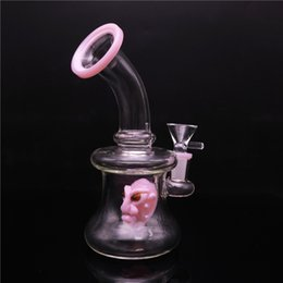 $enCountryForm.capitalKeyWord NZ - Glass Water Pipes 7 Inch Height Thick Glass Bong With 14mm Bowl And Pink Skull Inside Dab Oil Rigs Free Shipping