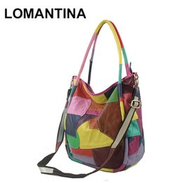 7631ecd920 Lomantina Fashion enuine leather Women Handbag Europe and America Colorful  Geometric Patchwork Bag Casual Shoulder Bag
