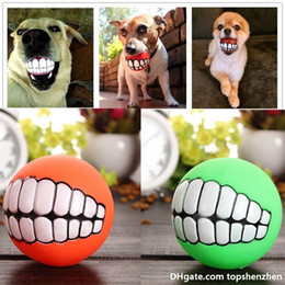Halloween silicon online shopping - Funny Pets Dog Puppy Cat Ball Teeth Toy PVC Chew Sound Dogs Play Fetching Squeak Toys Pet Supplies Puppy Ball Teeth Silicon Toy