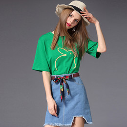 Discount girls fashion belt shirts - New Fashion Women's Sets Embroidery T-Shirt and Rough Edges Denim Skirt with Style Waist Belt Casual Sweet Girl Clo