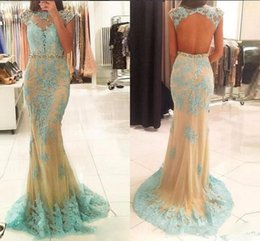 $enCountryForm.capitalKeyWord NZ - Champagne Tulle Mermaid Prom Dresses 2018 Lace Appliques Beaded Jewel Neck Evening Gowns Sexy Backless Plus Size Formal Occasion Party Wear