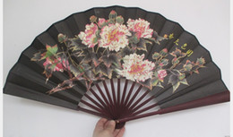 cheerleaders hand UK - Large Folding Hand Fan Black Traditional Craft Chinese Fabric Fan Decoration Big Bamboo Silk Fan for Men Gift 1pcs