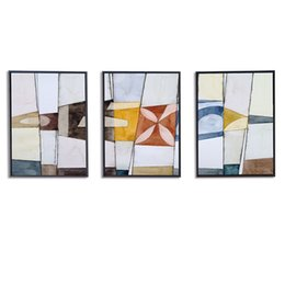 China Living Room Modern Minimalist Decoration Painting Clear Abstract Triple Painting Hotel Bedroom Corridor Painted No Glass supplier floral framed glasses suppliers