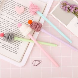 $enCountryForm.capitalKeyWord Australia - 24 Pcs Lot Kawaii Hat Gel Pen 0.5mm Black Color Writing Pens Sweet Girl Gift Stationery Office Accessories School Supplies Promotion