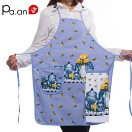 Discount kitchen canvas prints - New 100 %Cotton Ladies Kitchen Aprons Creative Cartoon Printed Cooking Apron With Pockets Hand Towel Household Cleaning