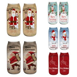 Funny Christmas Socks Canada - 2018 New Women Socks Brand 3D Socks Fashion Funny Christmas Meias Female Cute Low Cut Ankle Sock Calcetines Christmas Gift