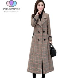 9f2f3a8aa19 2018 Spring Autumn New Plus size Woolen Coat Female Houndstooth Fashion  Woolen Jacket Slim High quality Women Winter Jacket Coat