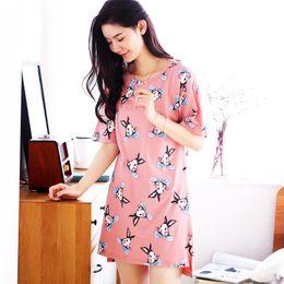 girls size nightgown 2019 - Big Size M-XXL New 100%Cotton Women Dress Short Sleeve Round Neck Cute Cartoon Loose Female Sleepwear Girls Nightgown Fo