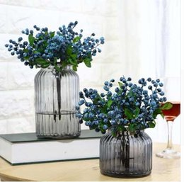 Wholesale Wedding Decorative Blueberry Fruit Berry Artificial Flower Silk Flowers Fruits For Wedding Home Decoration Artificial Plants A10