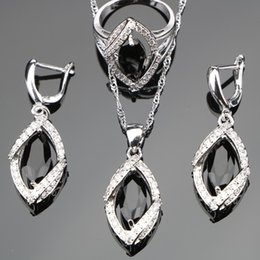 Silver Costume Jewelry Rings Australia - heap Bridal Jewelry Sets Black Cubic Zirconia Bridal Silver 925 Costume Jewelry Sets Silver Earrings For Women Rings Pendant Necklace Set...