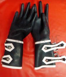 blue latex gloves 2019 - Sexy Black Women's Wrist Latex Short Gloves with Button cheap blue latex gloves
