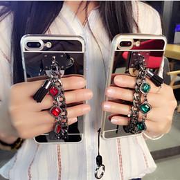 Chains For Mirrors Australia - Diamond bracelet chain tassel mirror phone case cover For Samsung galaxy j2 j4 j5 j6 j7 a5 a6 a7 a8 2017 2018 prime plus pro