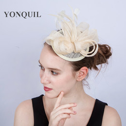 3f6c18cbb18d6 New Arrival 17color Ladies Fascinators with feather Racing Season Hats  ivory Sinamay Wedding Hat for Cocktail Party Event Occasion SYF203