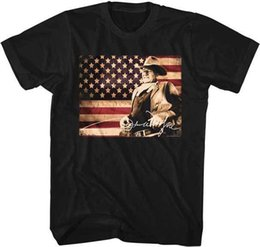 $enCountryForm.capitalKeyWord UK - John Wayne American Flag Tin Sign Photo Adult T Shirt TV Movies Comfortable t shirt Casual Short Sleeve Print 100% Cotton