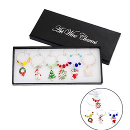 Table Charm Wholesale Australia - Hoomall 6PCs Box Mixed Wine Charms Christmas Decorations For Home Table Champagne Cup Markers Tree Snowman Pendant Party DIY D18110704