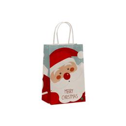 $enCountryForm.capitalKeyWord UK - 10 Pcs lot MERRY Christmas series Gifts Printed Elk Santa Claus paper bags with handles Children Present bags 21x13.5x8cm