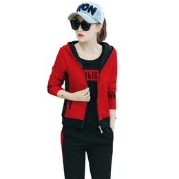 $enCountryForm.capitalKeyWord UK - 2018 New autumn Korean version of the loose casual suit female Hoodie T-shirt Full Length Pants 3 sets of women's clothing YM934