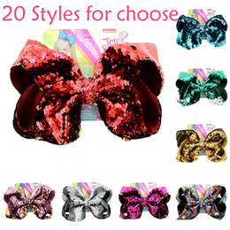 """$enCountryForm.capitalKeyWord Australia - JOJO Hairpin 8"""" Large Sequin Glitter Bow Hair Clips for Baby Girl Kids Children Barrettes Hair Accessories Fish Scale Bow Hair Clips H942F"""