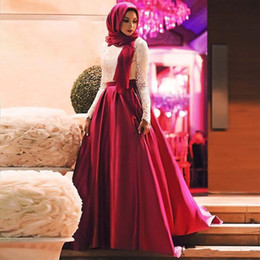 muslim hijab picture UK - White Red Muslim Prom Dresses 2019 Fashion Long Sleeves Hijab Evening Gowns Lace Satin Floor Length Plus Size Saudi Arabic Party Dresses