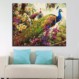$enCountryForm.capitalKeyWord Canada - DIY Oil Painting By Numbers Kits Coloring HandPainted Peacock On Canvas Animal Pictures Living Room Decor Unique Wall Artwork