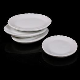 House Plates Australia - Lovely Dollhouse Miniature White Ceramics Dish Plate 1 6 1 12 Doll House Kitchen Furniture Toys for Children Kids Creative Gift