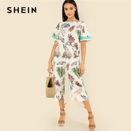 e9fa6c5c77 SHEIN Multicolor Vacation Bohemian Beach Contrast Tape Jungle Leaf Top And  Wide Leg Pants Tropical Print Summer Women Twopiece