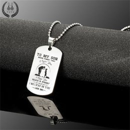 Dad Pendants Australia - To my son stainless steel pendant necklaces Engrave name love dad mom id tag necklaces&pendants Fashion customized logo jewelry