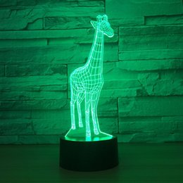 giraffe figures NZ - Giraffe 3D Optical Illusion Lamp Night Light DC 5V USB Powered 5th Battery Wholesale Dropshipping Free Shipping