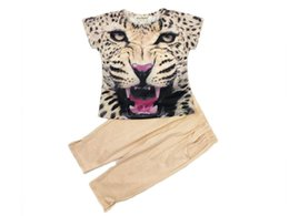 4t clothing 2020 - Summer Fashion Girls Short Sleeve Lion Head Leopard Print T-shirt + Solid Pants 2 Pieces Clothing Set cheap 4t clothing