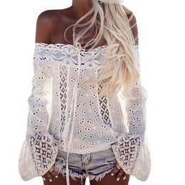 $enCountryForm.capitalKeyWord UK - FUNOC Sexy Off Shoulder Blusas Long Sleeve Chiffon Blouses Shirt Women Tops Lace Up White Shirts Hollow Out Boho Women Top 2017