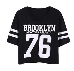 28788234a Women Lady Girls BROOKLYN 76 Printed Holiday Crop Tops Cotton T Shirts  Blouse