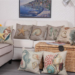 hospital beds for home UK - 43*43cm Vintage Cushion Cover Seaturtle Marine Sea Shell Pattern Linen Pillow Case for Couch Nordic Ocean Bedding Christmas Decoration