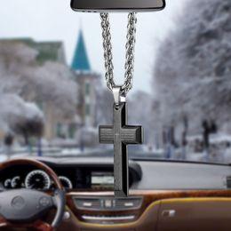 TiTanium crosses online shopping - Car Pendant Unique Titanium Steel Bible Cross Automobile Interior Rearview Mirror Hanging Dangle Ornament Decoration Accessories