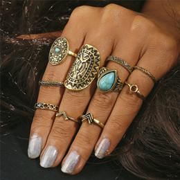 the best attitude d89e4 02bc4 10 PCS   LOT Retro Pattern Mix Finger Midi Ring Sets Vintage Unicornio  Steampunk Knuckle Rings para Mujeres Hombre Moda Boho Joyería YMRJ42855