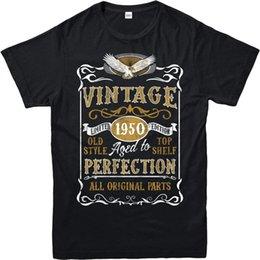 Venta al por mayor de Hecho en 1950 Vintage camiseta, nacido 1950 cumpleaños edad año regalo Top 100% algodón para hombre camiseta