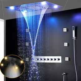 Wholesale 2018 Ceiling Rian Shower 600*800mm Large Overhead Showerhead Set LED Waterfall Mist Luxury High Flow Bath Kits wiith Handheld Shower