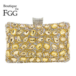 purple crystal evening clutch bag Australia - Boutique De FGG Elegant Hot-Fixed Women Gold Crystal Evening Purse Wedding Party Prom Rhinestones Handbag Clutch Bag